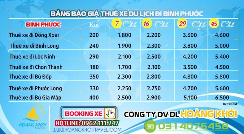 Cho thuê xe du lịch đi Binh Phước giá rẻ